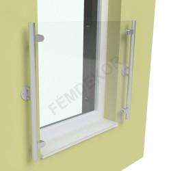 Erkélykorlát garnitúra (42mm-es cső oszlopok, 5+5 VSG üveg, 900mm-es ajtóhoz)