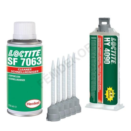 Rozsdamentes acél ragasztó és tisztítószer (Loctite HY 4090, Loctite SF-7063, Kinyomó pisztoly, Keverőszár)